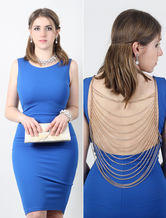 Backless Blue Dress Women's Bodycon Dress With Detachable Back Golden Chain
