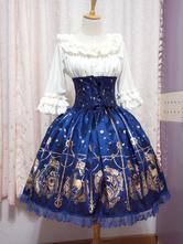 Falda de Lolita de algodón y encaje con estampado
