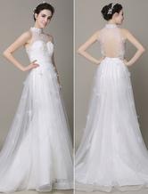 Boho Beach Wedding Dress Ivory Cut-Out Applique Beaded Sash Wedding Gown Milanoo