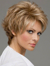 AF-S2-366663 Blonde Synthetic Curly Short Wig