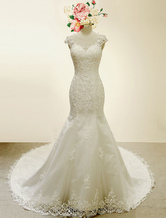 High Qulity Lace  Mermaid Wedding Dress Illusion Chaple Train Ivory Beading Bridal Gown
