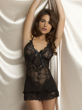 Hot Sale Black Semi-sheer Lace Shaping Chemise With Bow