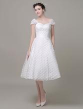 Querida casamento vestido tule a linha do joelho-comprimento vestido de noiva