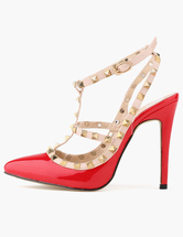 Women's Sexy Pointed Toe Slingbacks Studded T-bar High Heel Pump Shoes with Rivets