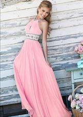 Розовое платье Maxi без спинки Холтер отбортовывая шифоновое длиннее платье выпускного вечера для женщин