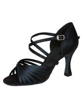 Zapatillas de baile latino Zapatos con espacio de baile Criss Cross de punta abierta en negro Zapatos de baile de salsa sMAQmRo