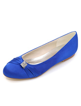 Blue Wedding Flats Satin Round Toe Rhinestones Bridal Shoes Mother Shoes