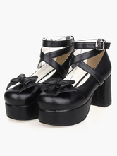 Sweet Lolita Heel Platform PU Black Cross Straps Lolita Shoes