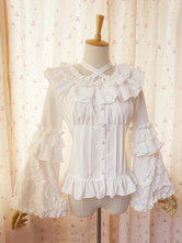 Lolitashow Sweet Lolita Blouse Lace Long Hime Sleeves Neck Straps Round Ruffles Collar