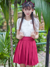 Lolitashow Sweet Lolita Top Square Collar Embroidered Lolita Short Sleeves Blouse