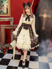 Gothic Lolita Clothing Bow Printed High Waist Lolita Skirt Layers Ruffles Lolita Sk With Lace Trim