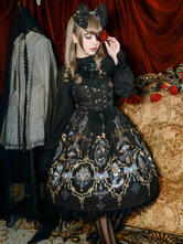 Gothic Lolita Dress Ribbon Bow Printed Lolita Jumper Dress High Waist Lolita Jsk In Laced Sweep