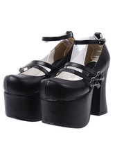 Lolitashow High Quality Round Toe PU Leather Street Wear Lolita Shoes