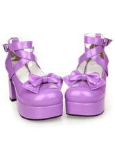 Lolitashow  Süße LolitaChunky Pony Heels-Schuh-Plattform-Schuh-Knöchel-Bügel-Bogen-Dekor Schnalle