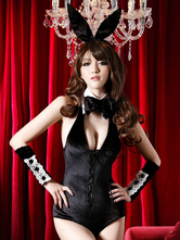 Anime Costumes AF-S2-536879 Halloween Women's Backless Plunging Jumpsuit Black Halter Sexy Bunny Costume