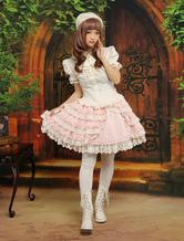 Lolitashow Sweet Pink Bow Cotton Blend Lolita Skirt