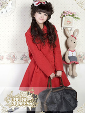 Lolitashow Classic Wool Blend Double-breasted Bow Lolita Coat