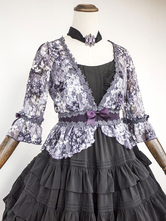Gothic Lolita Clothing Lace Flora Printed Gothic Lolita Cardigan Half Sleeve Lolita Top With Bow