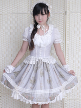 Gothic Lolita Dress Vintage Lace Printed Gothic Lolita Jumper Skirt With Bow