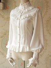 Lolitashow Weiße Lolita Bluse duftende Serie Infantin schicke Chiffon Shirt für Damen