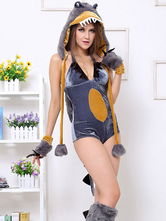Anime Costumes AF-S2-430459 Halloween Enticing Gray Faux Fur Womens Fantasy Costume