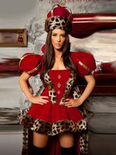 Красная Королева велюровая стильный сексуальный костюм для женщин  Хэллоуин