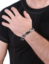 Cavo bracciale catena in lega cranio braccialetto Charm in argento punk maschile