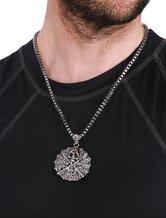 Crâne pendentif collier masculin rond alliage Collier Necklace déclaration d'argent