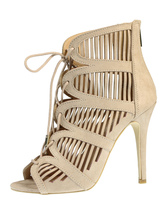 Gladiator Sandal Boots High Heel Black Suede Cut Out Lace Up Zipper Open Toe Women's Sandals