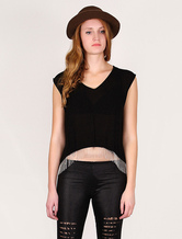 Nero top in chiffon per donna con catene d'oro (Gonna esclusa)