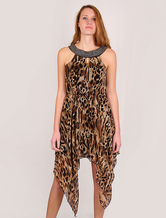 Halter Leopard Women's Chiffon Dress With Irregular Side Bottom