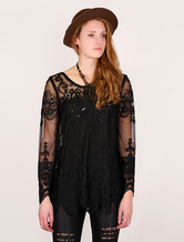 Black Women's Sheer Long Top With Lace