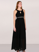 Women's Black Party Dress Beading High Waist Maxi Dress