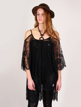 Off the shoulder Black Sheer Women's Long Top With Lace