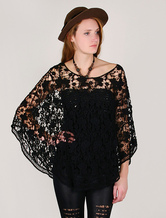 Black Women's Cotton Crochet Top Summer Poncho With Long Sleeves
