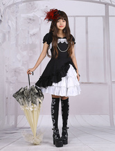 Cotton Applique Lolita One-piece Dress Short Sleeves Pearl String Bow Layers Ruffles