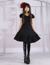 Lolitashow Black Short Sleeves Bow Cotton Classic Lolita Dress