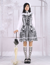 Lolitashow Black And White Cotton Lolita Dress