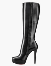 Black Women Boots Round Toe Zip Up Knee High Boots High Heel Boots