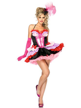 Anime Costumes AF-S2-638335 Halloween Sexy Showgirl Costume Women's Pink Contrast Color Ruffle Halter Mini Dress