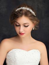 Beach Wedding Headband Silver Cutout Rhinestone Alloy Bridal Headpieces