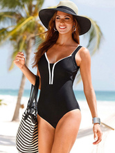 Costumi Interi donna Nero  Costumi da Bagno monocolore con orli scollato sulla schiena Abbigliamento  Donna da spiaggia di poliestere bretelle