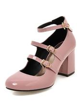 Rosa klobige Heels Runde Zehe schnallte Ankle Strap Pump Schuhe für Frauen