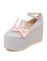 Zapatos de tacón de PU de dos tonos con lazo wmlNvDkQB