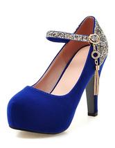 Women Platforms Shoes Suede High Heel Round Toe Pump