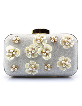 Silver Evening Handbags Glitter Pearl Flower Horizontal Mini Wedding Clutch Bags