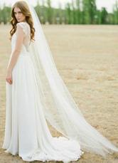Собор гребень свадьбы вуаль белый тюль 1 уровня отрезать край Фату