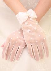d57e3c0b990 Elfenbein Hochzeit Handschuhe kurze Tüll Fingerspitzen Blumen Perlen Braut  Handschuhe mit Schleife