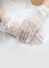 Tulle Wedding Gloves White Short Fingertips Bridal Gloves With Lace Bow
