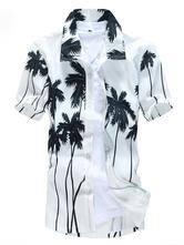 Camisas havaianas 2021 brancas dos homens de manga curta Cocoanut Tree Impresso Summer Beach Shirt